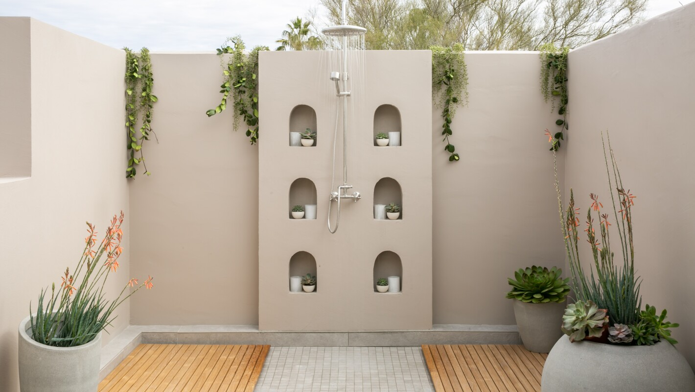 Outdoor spa shower
