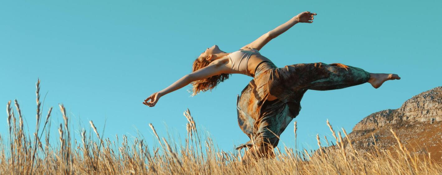 Woman dancing outside