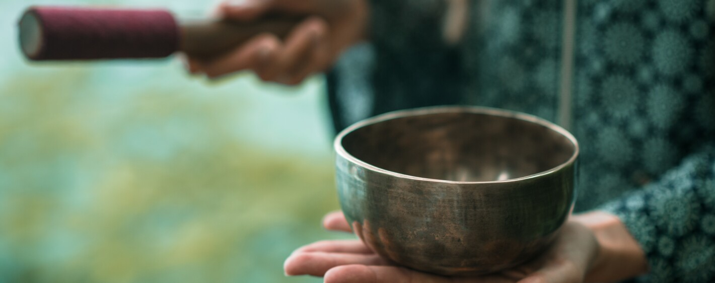 A close up of Tibetan meditation bowl