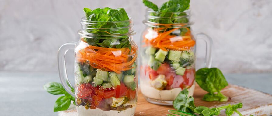 salads in mason jar