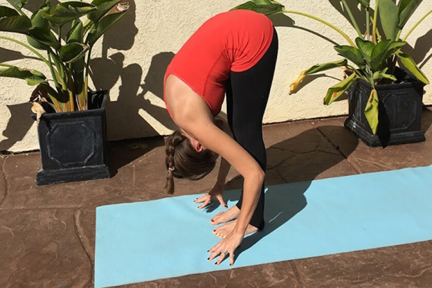 A young woman in standing forward fold yoga pose