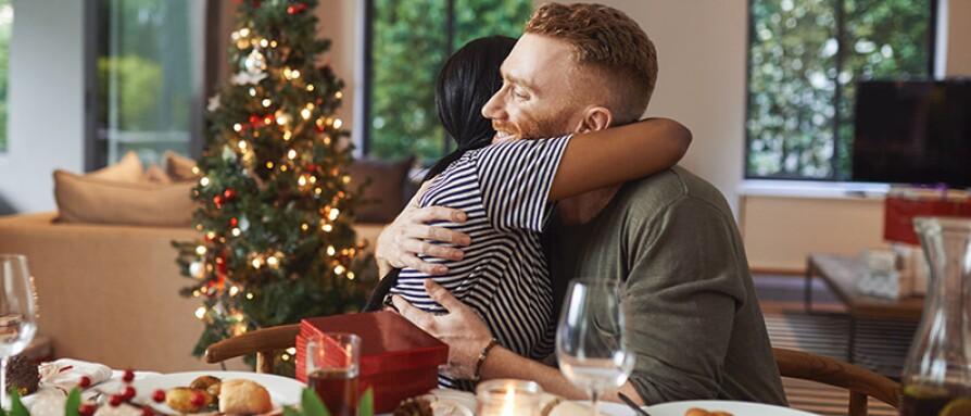 couple holiday hug