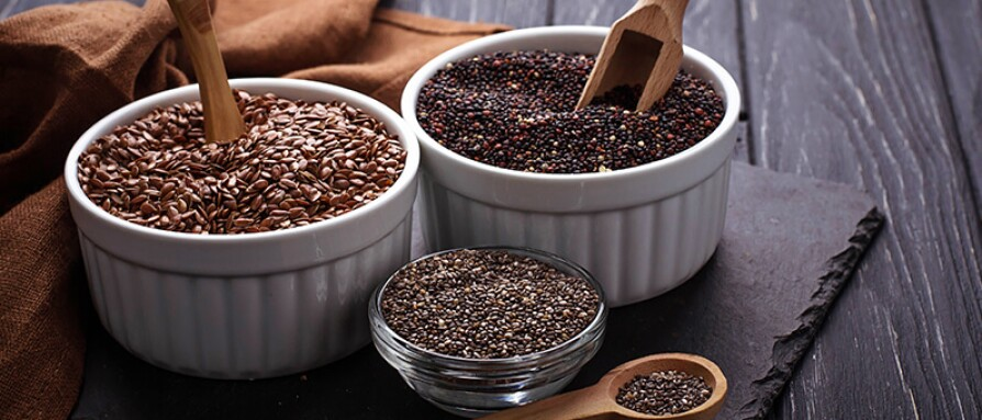 chia and flax seeds