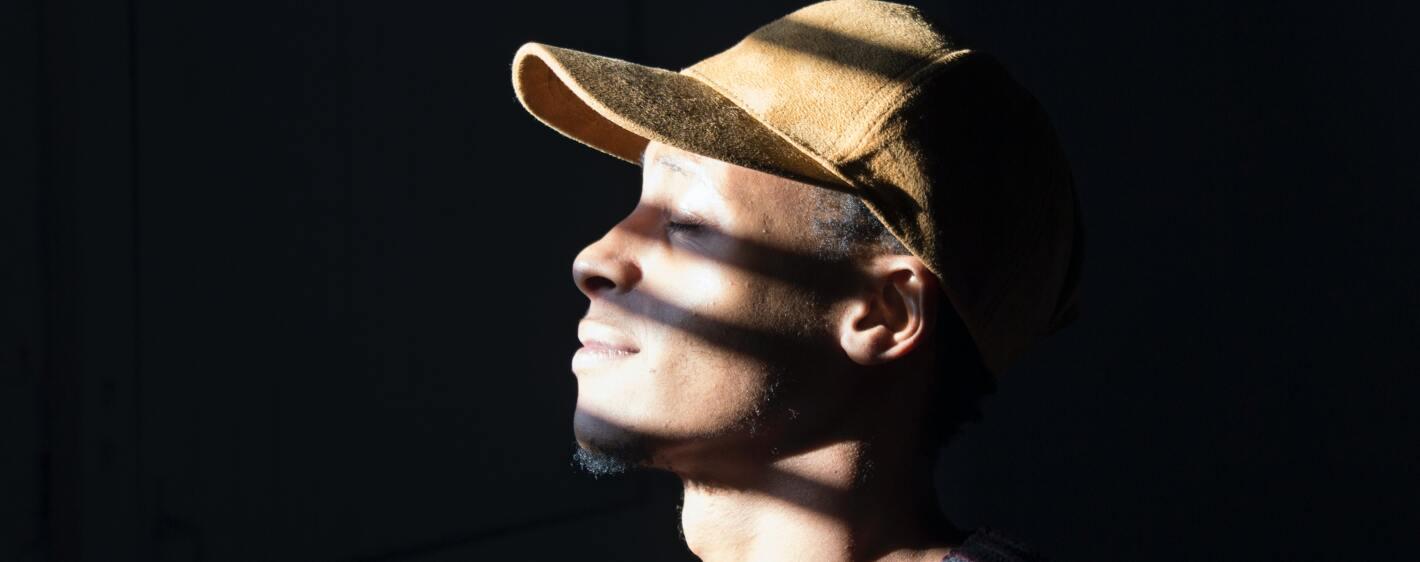 Man with sun reflection