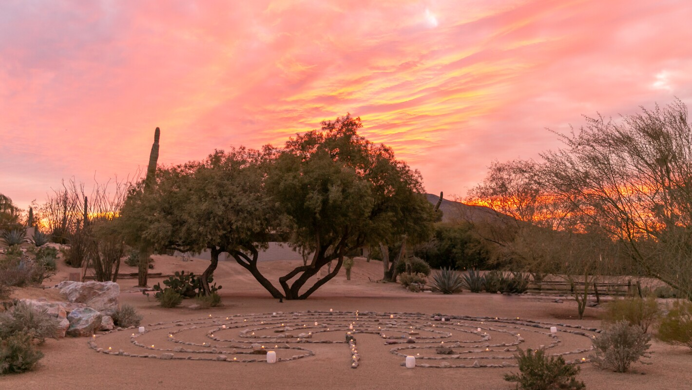 Peaceful desert meditation garden at sunset