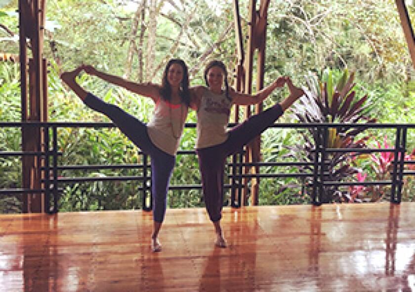 friends doing yoga