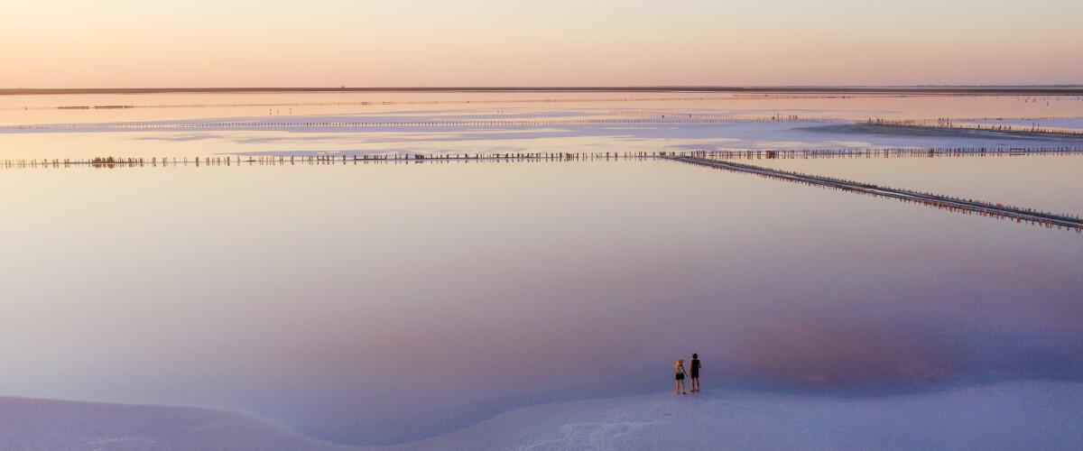 Scenic aerial view of heterosexual walking on  pink salt lake