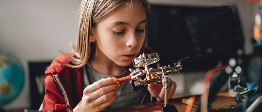 young girl STEM