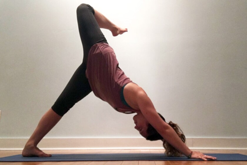 3 legged downward facing dog with open hip