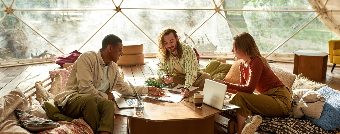 Young multiracial coworkers discussing project in tent
