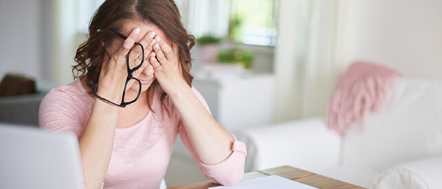 Woman dealing with stressful news
