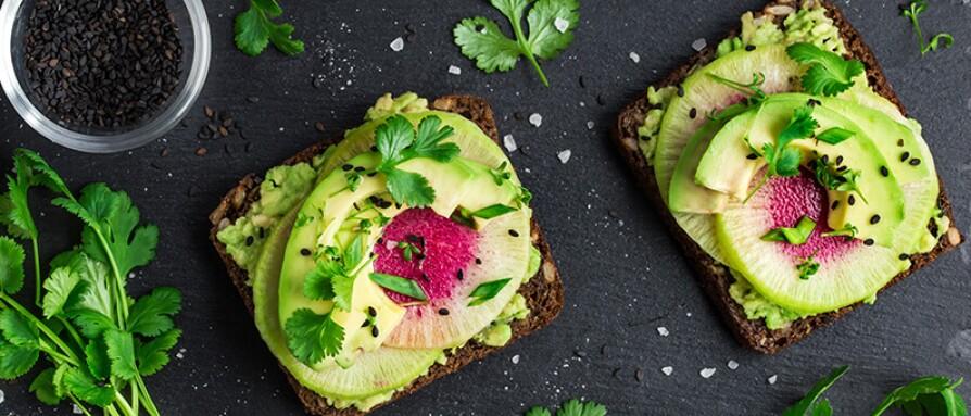 avocado and watermelon radish toast