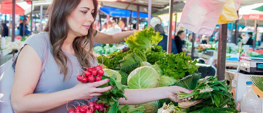 woman picking veggies