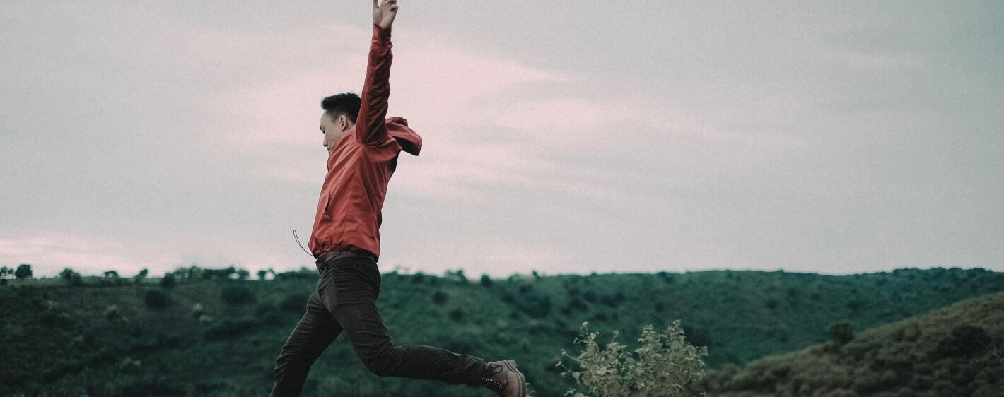 A man running through a field