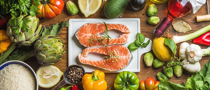A healthy diet of fish and variety of vegetables