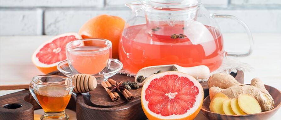 Ginger, grapefruit tea and honey