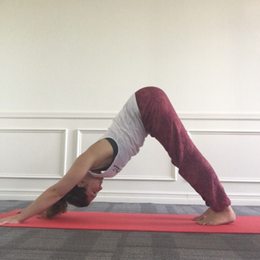 Woman in downward facing dog yoga pose