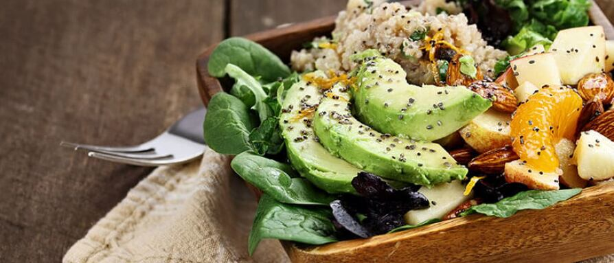 healthy avocado quinoa salad with chia seeds
