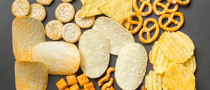 salted snacks chips and pretzels