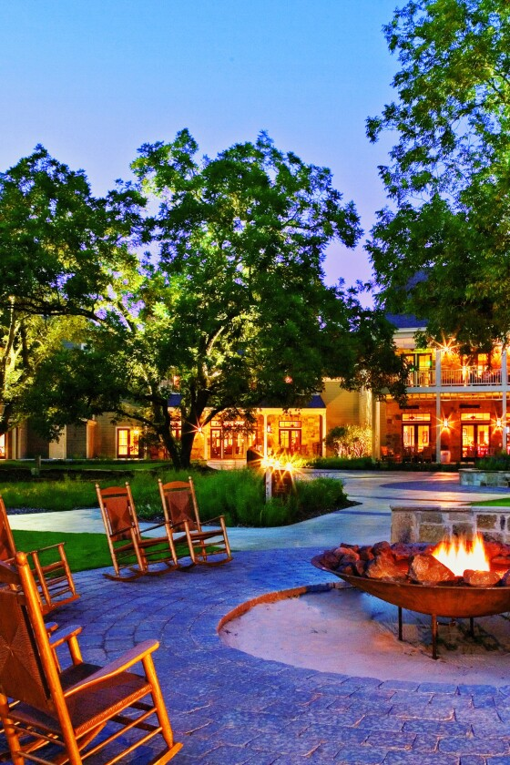 Outdoor firepit space at night