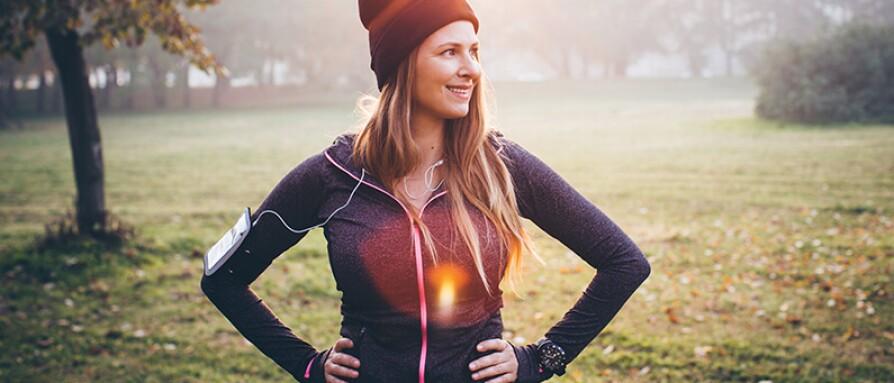 happy confident woman outdoors