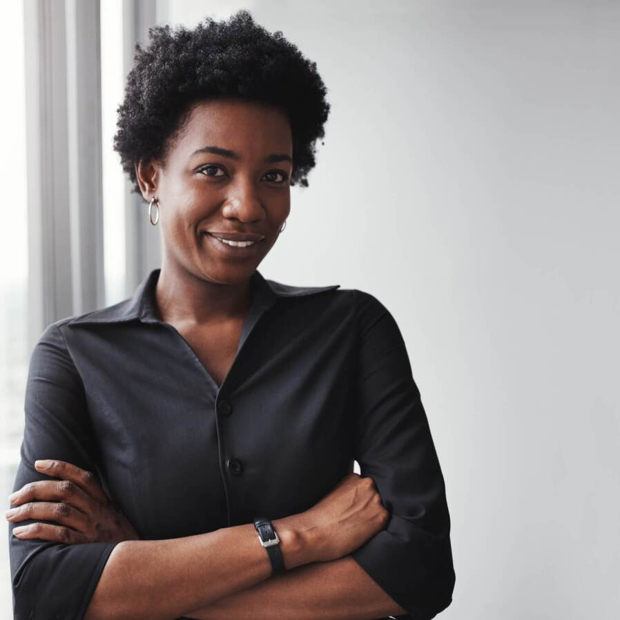 A smiling afro-american woman