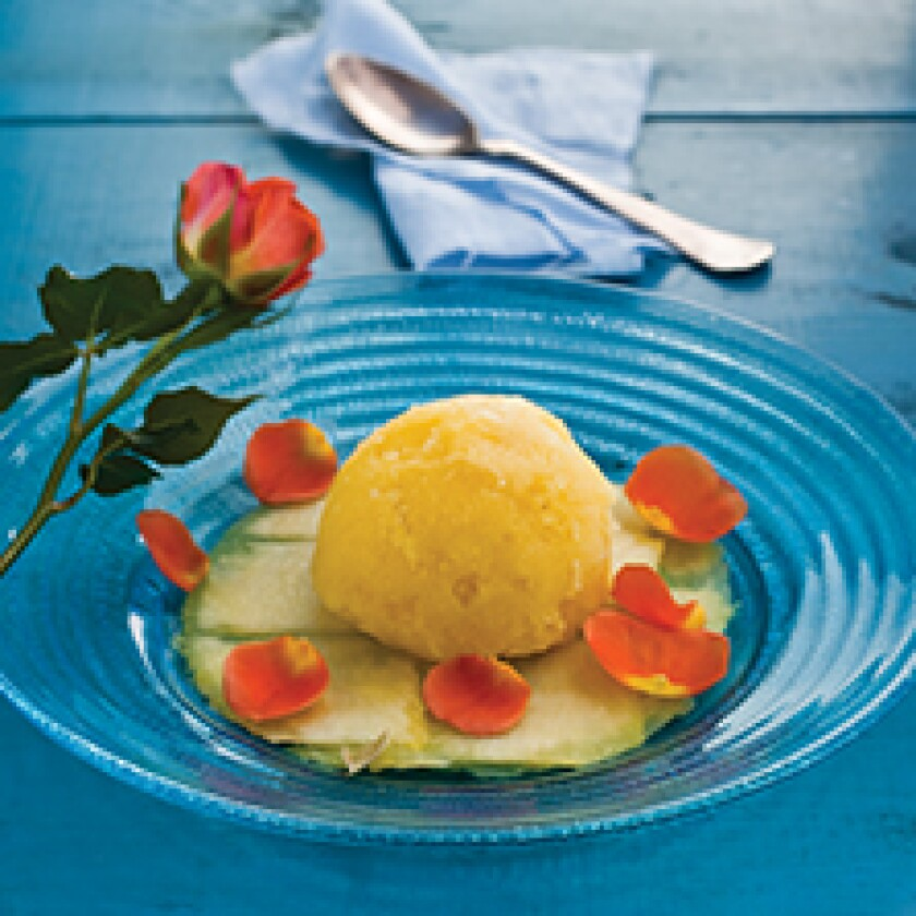 Clementine Sorbet With Lavender Syrup