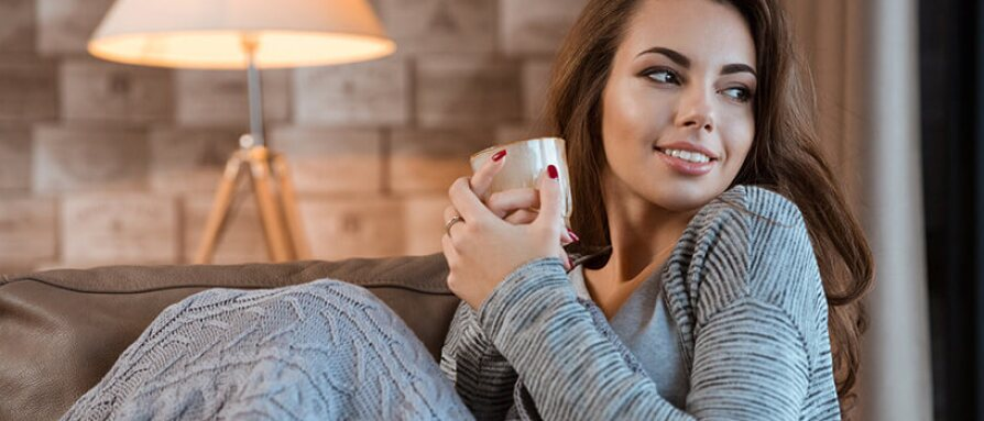 woman relaxing with a cup of tea