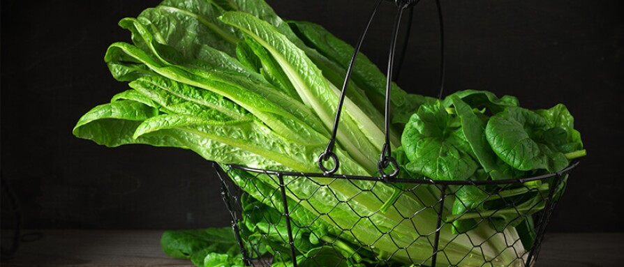 leafy greens in wire basket