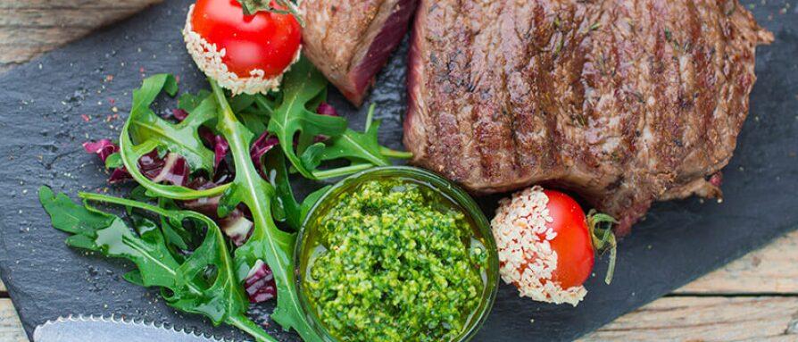 steak and pesto