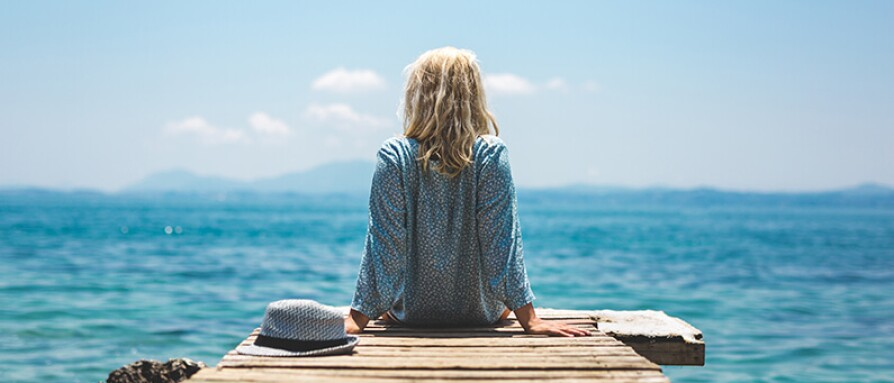 woman at pier summer