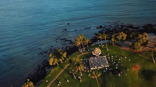 Aerial view of meditation retreat by the beach