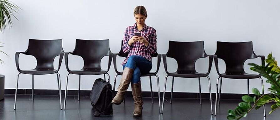 woman texting a friend