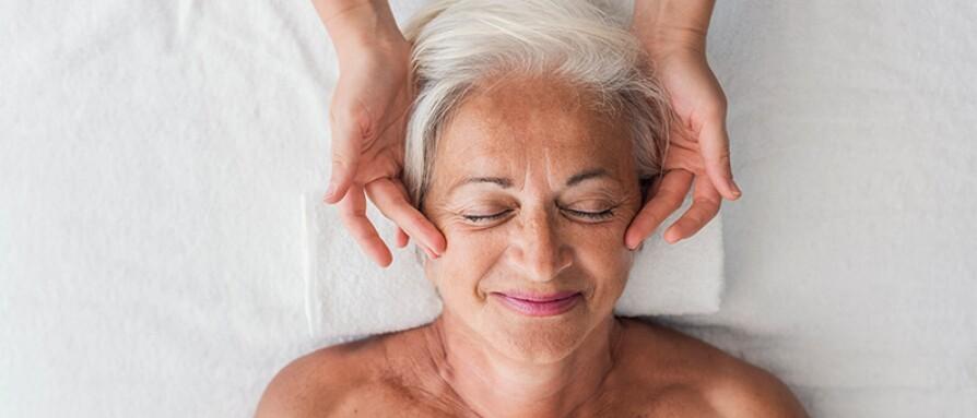 mature woman ayurvedic massage blissful relaxation