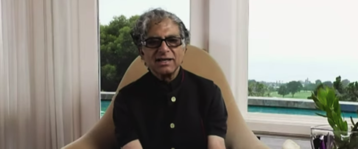 Deepak Chopra sitting at home