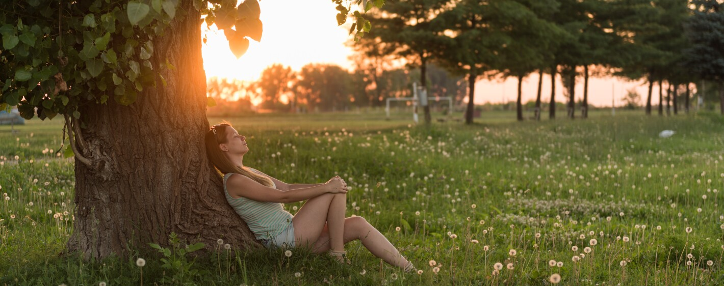 Young woman enjoying sunset under the tree