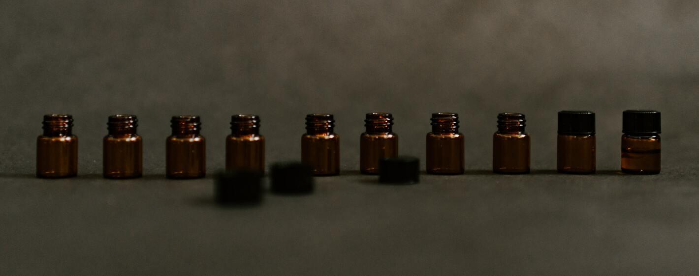 tiny jars of essential oils