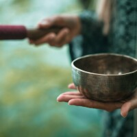 A close up of Tibetan meditation bowl