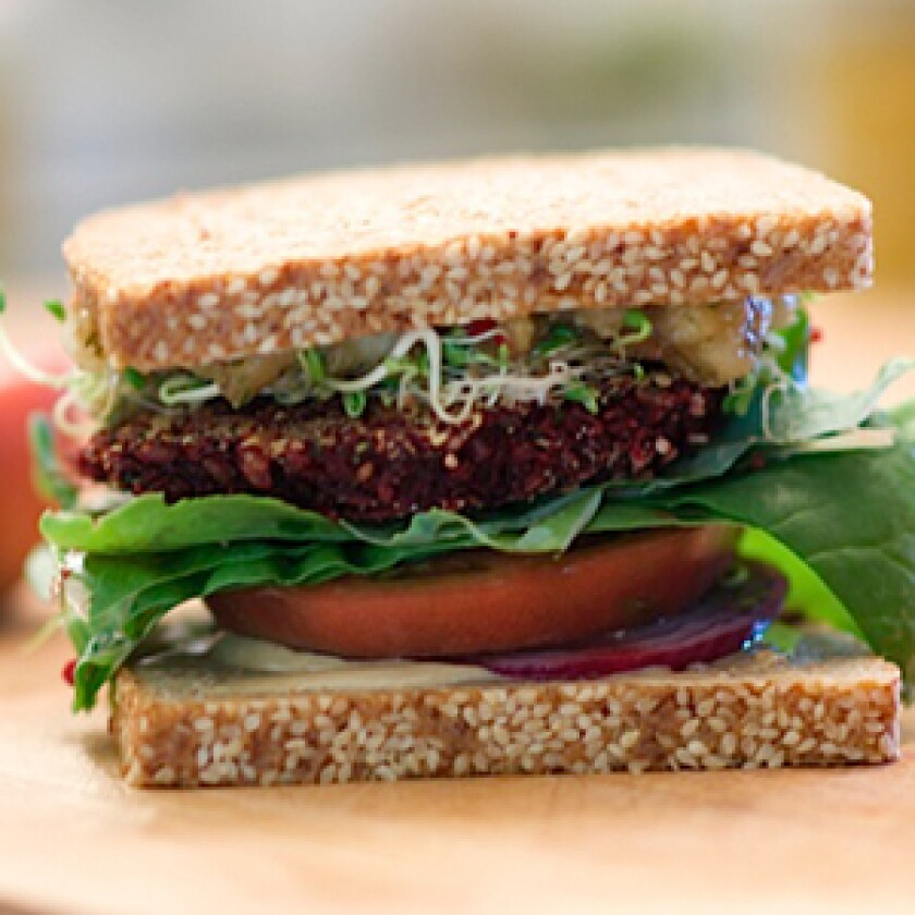 Beet Burgers With Pear and Mint Chutney